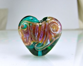 Teal Pink Lampwork Heart Focal Bead SRA BEADS