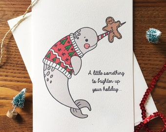 Narwhal Card. Funny Christmas Card. Christmas sweater card. Holiday Card. Narwhal Stationery. Nautical Card. Single Xmas Card