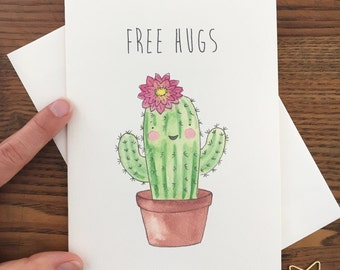 Cactus Card. Cactus in pot card. Free Hugs Card. Succulent Card. Saguaro cactus card. Cactus with flower. Free Hugs. Hug Card. Blank Card