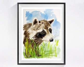 Raccoon Artwork Original art Original Watercolor Painting woodland animal painting animal art child's room Forest creature Wall art 14 x 10
