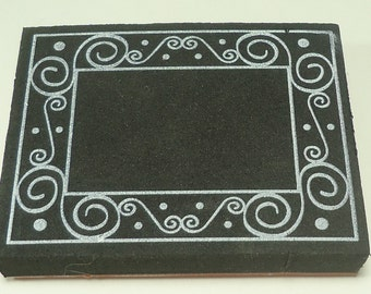 Frame With Swirls Rubber Stamp Mounted on Foam