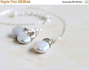 Love You Sale Coin Pearl Earrings and Necklace Set Sterling Silver Wire Wrapped GE5