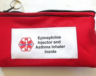 Insulated Epi Pen® or Auvi-Q ® weather proof zippered pouch case options toss in your pack or purse medical alert label Epinephrine asthma