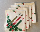 Vintage Christmasb- 4 Linen Holiday Napkins - Candles & Holly