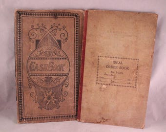 Pair of Antqiue/Vintage 1940's Era Cash and Order Books with Great Old Handwriting