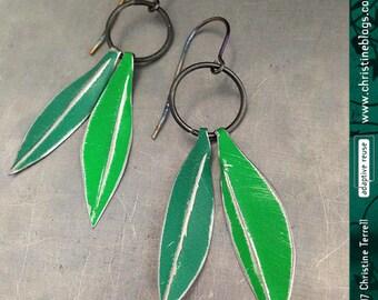 Laurel Leaves -- Upcycled Tin Earrings