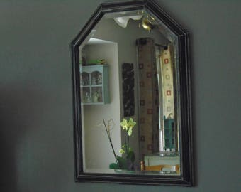 Black distressed mirror with cathedral style top, upcycled black mirror, 6 sided black mirror