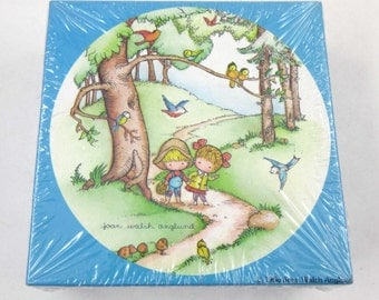 Vintage Unused 1980s Joan Walsh Anglund Friends Brighten Up the Way Mini Circular Jigsaw Puzzle in Box by Springbok Hallmark Cards