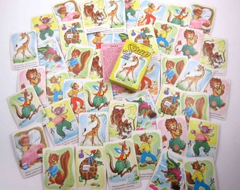 Vintage Animal Snap Children's Playing Cards by Whitman Set of 44
