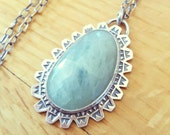 Natural Aquamarine Pendant Necklace, Large Sea Blue Green Stone, Hand Stamped Artisan Jewelry