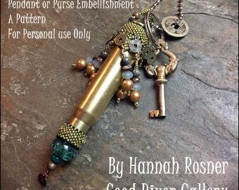 NEWLY UPDATED Beading Pattern Make Love Not War: Summer of Love Rifle Casing and peyote stitch Pendant Tutorial instructions - Hannah Rosner