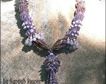 JUST UPDATED!  Bead Pattern Sunrise in New Mexico Necklace peyote stitch and fringed necklace tutorial instructions - Hannah Rosner