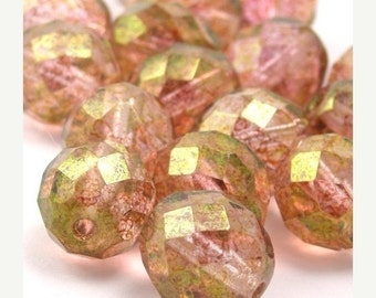 50% Off Sale 25 Czech Glass Firepolish Faceted Rounds - 10mm - Luster Transparent Topaz Pink CZF128