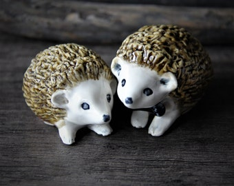 Little precious porcelain ceramic hedgehogs-  unique woodland wedding cake topper