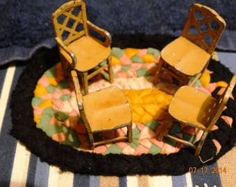 Vintage 1930's Die Cast Iron Tootsie 4 Kitchen Table Chairs,  Primitive Doll House Furniture, Kitchen Table Chairs