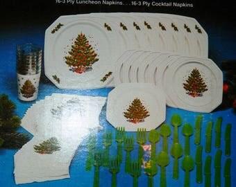 80 Piece Christmas Entertaining Plastic Dish Set, Service for 8, Dishwasher Safe, Plates, Glasses, Plastic Ware, Luncheon & Cocktail Napkins