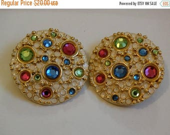 Vintage Clip on Earrings, Disc Earrings, Gold & Rhinestones, Pastel Stones, Circa 1980's Dynasty Jewelry