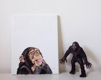 Chile the Chimp, Chimpanzee, Chimpanzee Art, Chimpanzee Painting, Chimpanzee Portrait, Monkey Art, Monkey Wall Decor