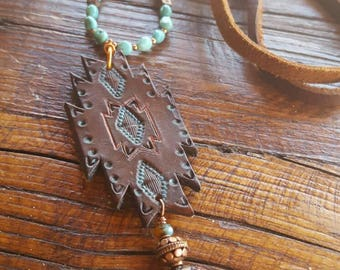Long Turquoise Necklace - Leather and Copper Necklace - Hand Tooled Leather - Dark Brown - Cowgirl Jewelry - Boho - Southwestern Inspired