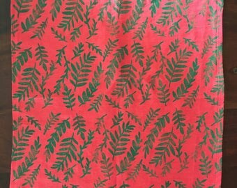 jungle leaves on pink. block print cloth napkins. set of four.
