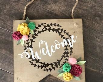 Welcome Door Hanger, Welcome Wreath, Felt Floral