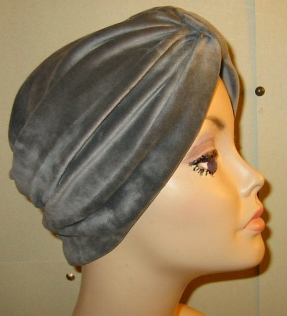 Gray  Velour Turban, Chemo Hat, Snood, Womens Hat, Cancer Hat Alopecia