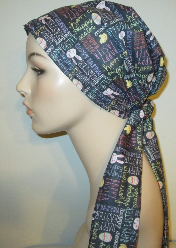 Happy Easter PreTied Chemo Hat, Cancer Scarf, Modest Hat Alopecia