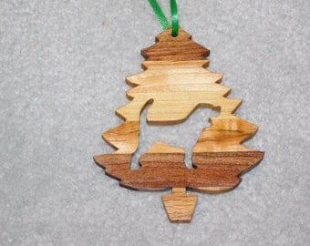 Wood Christmas Tree Dog Ornament -  Beagle