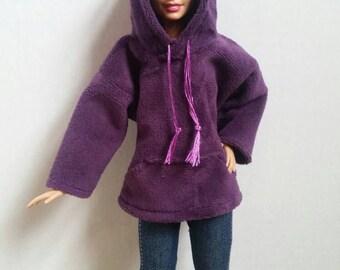 Barbie Hoodie Plush Plum Purple Made to Order Fashionista Barbie Clothes Curvy Barbie Petite Barbie Tall Barbie