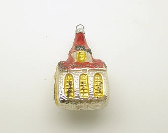 Vintage Christmas Ornament Glass Church West Germany