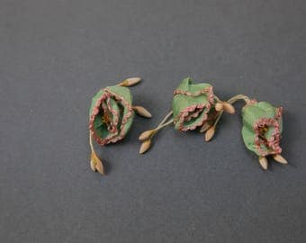 Antique French Ribbon work Roses