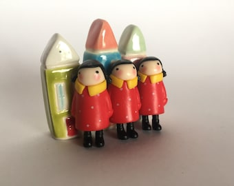 Tiny Girl Figure RED COAT Terrarium Prop Party Favor Art Embellishment