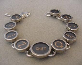 Typewriter key jewelry Bracelet - BLACK RANDOM MIX -Glass Typewriter key Bracelet