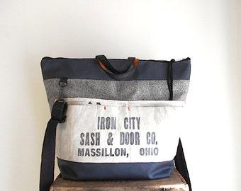 Vtg lumber apron, raw denim weekender, carryall, tote bag - Iron City Door, Massillon, Ohio - eco vintage fabrics