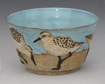 BIRDS & BEACH BOWL-- Medium 14 ounce size with 4 Sanderlings 3 of 3 from second set