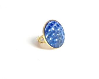 Blue and Gold Ring, Blue Ring, Statement Ring, Vintage Ring