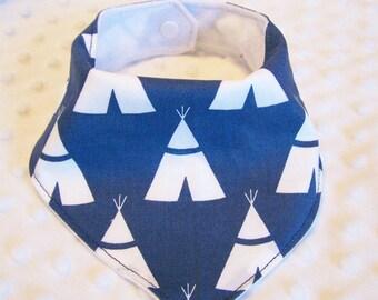 FREE SHIPPING Teepees on Navy Blue Bandana Baby Bib --Drooler Bib--