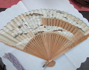 VINTAGE - Japanese Fan - Handpainted - Sandalwood Carved