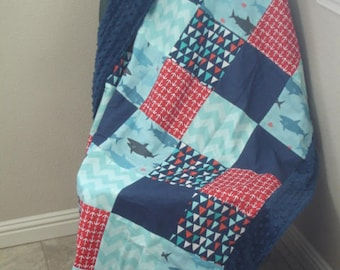 Sharks Flags and Anchors Minky Blanket 36 x 56 READY TO SHIP On Sale