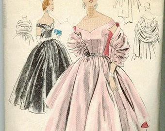 1955 Sewing Pattern Vintage Vogue 4465 Size 14 Full Skirted Rockabilly Evening Ball Gown Dress and Stole with Label
