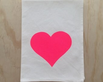 Heart in Neon Pink - Hand Printed Tea Towel - Cotton
