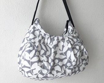 Pleated Bag // Shoulder Purse - Branch Canvas in Gray