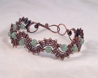 Lacey woven wire copper bracelet with Green Aventurine