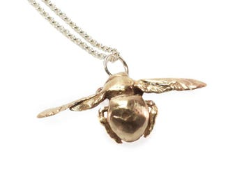 Carpenter Bee Pendant Necklace in Bronze