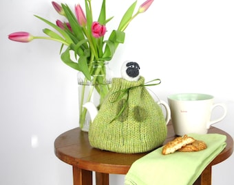 2 Cup Sheep Tea Cosy, small  tea cozy, knitted tea cozy, made in Scotland, Tea drinkers Gift, wool tea Cosy, Mothers Day Gift, Sheep gift