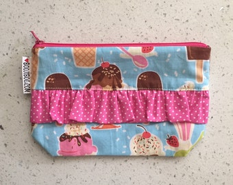 Ice Cream Cone Zip Pouch with Sprinkles