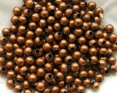 4mm Copper Beads - Set of 200 - Antique Copper Plated Round Iron Beads Seamless (GBD0017)