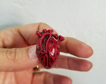 My Bloody Valentine anatomical  heart brooch pin horror Valentine's day