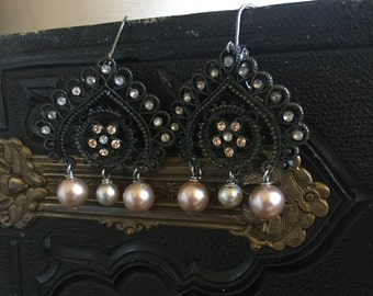 Tutu Filigree Fan Pearl Rhinestone Repurposed Earrings