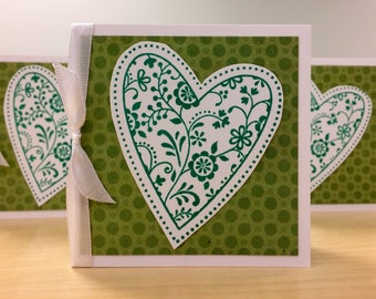Green Hearts and Polka Dots Gift Cards Set of Six 6 Love Friendship Irish Stamped Lunch Box Love Notes Office Teacher Coworker Etsy Shop